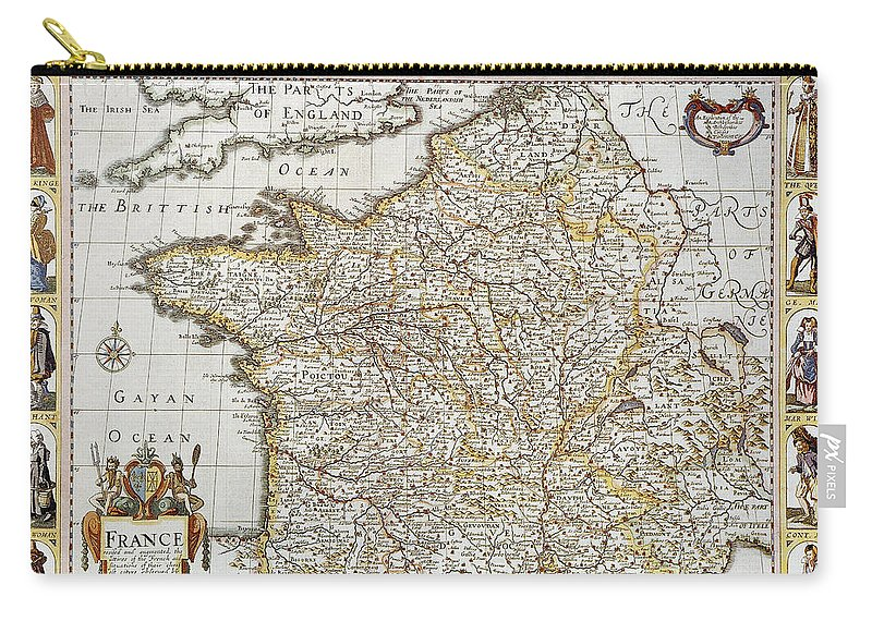 1627 Carry-all Pouch featuring the photograph Map Of France, 1627 by Granger