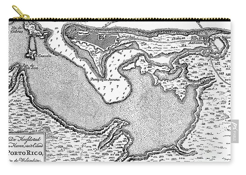 1766 Carry-all Pouch featuring the photograph Map Of San Juan, 1766 by Granger