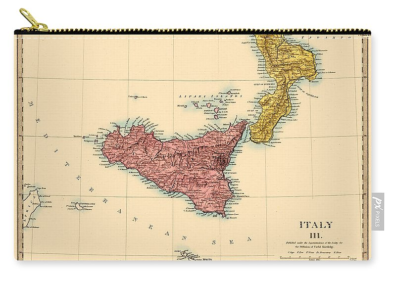 Map Of Sicily Carry-all Pouch featuring the photograph Map Of Sicily 1875 by Andrew Fare