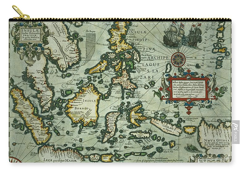 Map Of The East Indies Carry All Pouch Featuring Drawing