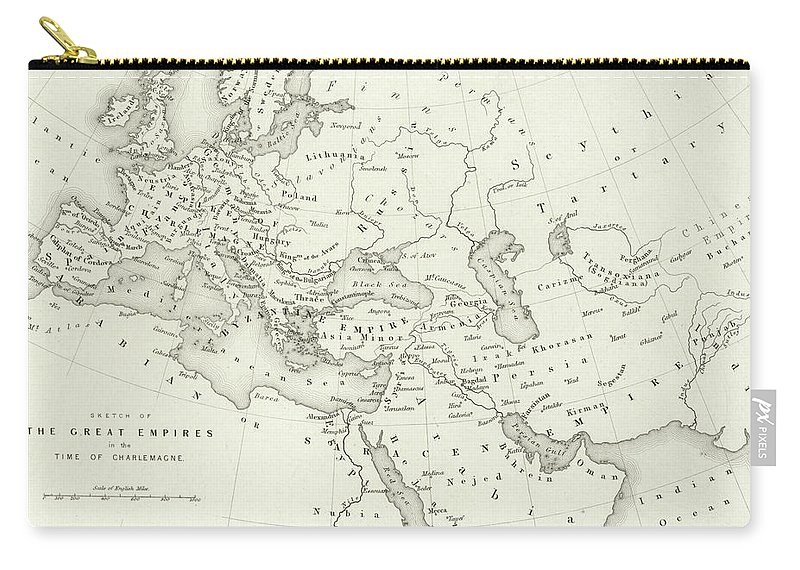 Maps Carry-all Pouch featuring the drawing Map Of The Great Empires In The Time Of Charlemagne by English School