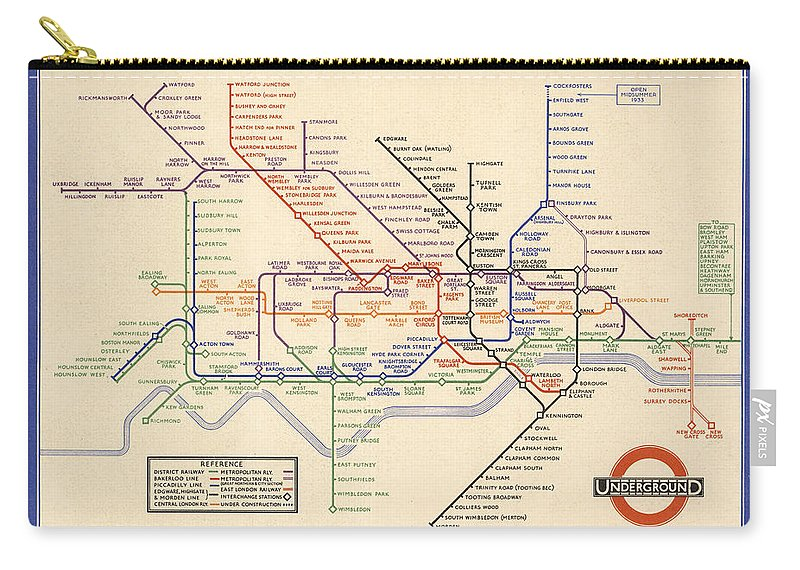 Map London Metro.Map Of The London Underground London Metro 1933 Historical Map Carry All Pouch