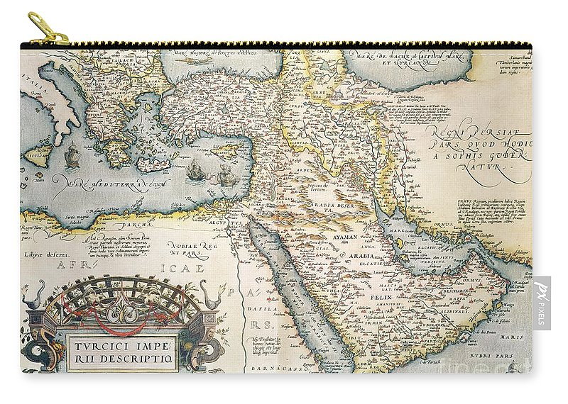 Map Carry-all Pouch featuring the drawing Map Of The Middle East From The Sixteenth Century by Abraham Ortelius