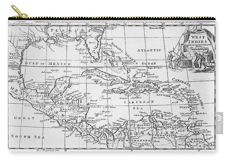 Map Carry-all Pouch featuring the painting Map Of The West Indies Florida And South America by English School