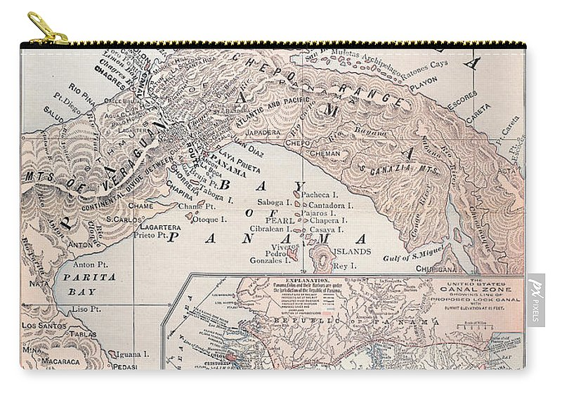 1907 Carry-all Pouch featuring the photograph Map: Panama, 1907 by Granger