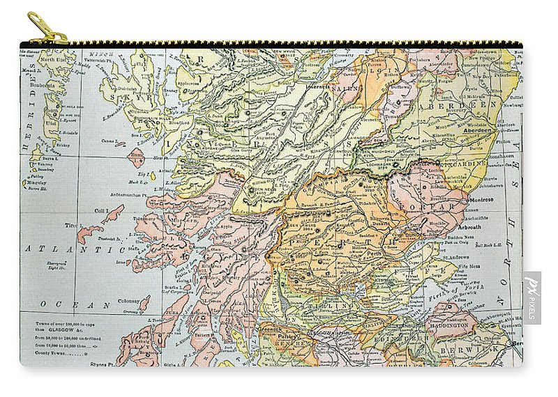 19th Century Carry-all Pouch featuring the photograph Map: Scotland by Granger