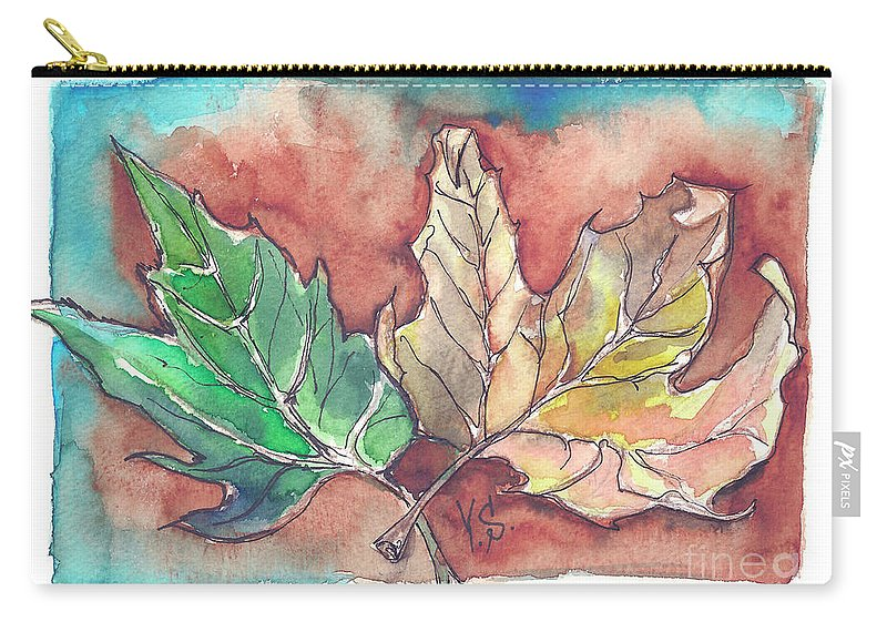 Maple Carry-all Pouch featuring the painting Maple Leaves by Yana Sadykova
