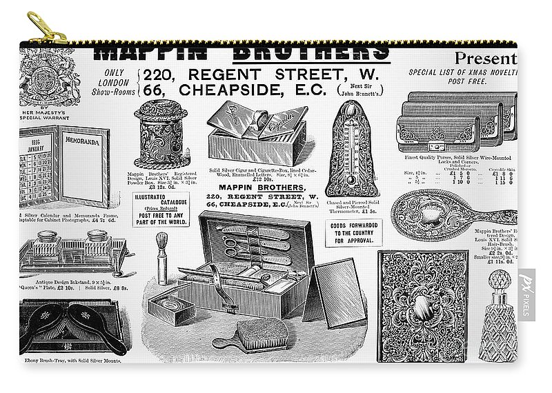 1895 Carry-all Pouch featuring the photograph Mappin Brothers Ad, 1895 by Granger