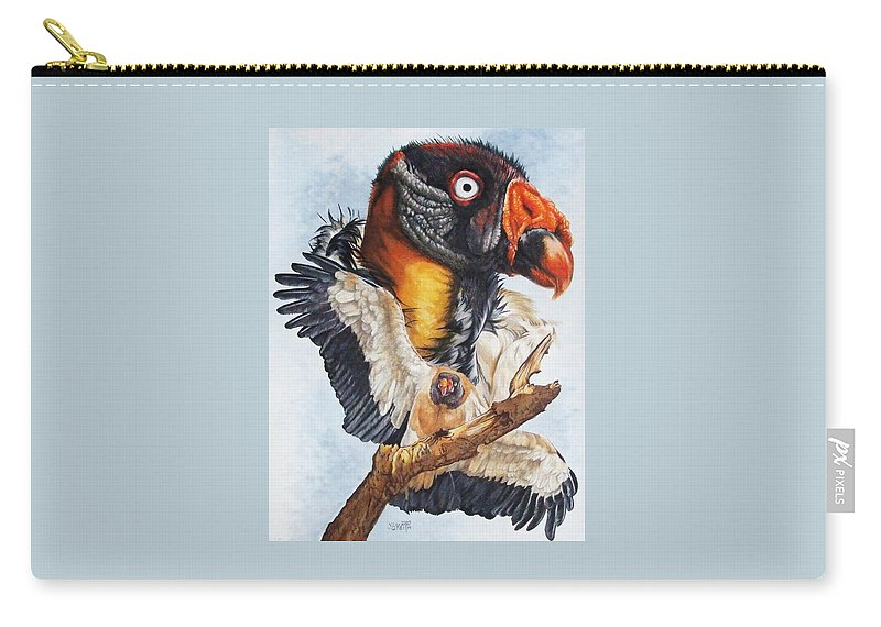 Vulture Carry-all Pouch featuring the mixed media Marauder by Barbara Keith