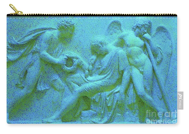 Angel Relief Carry-all Pouch featuring the photograph Marble Angel Relief by Leonore VanScheidt