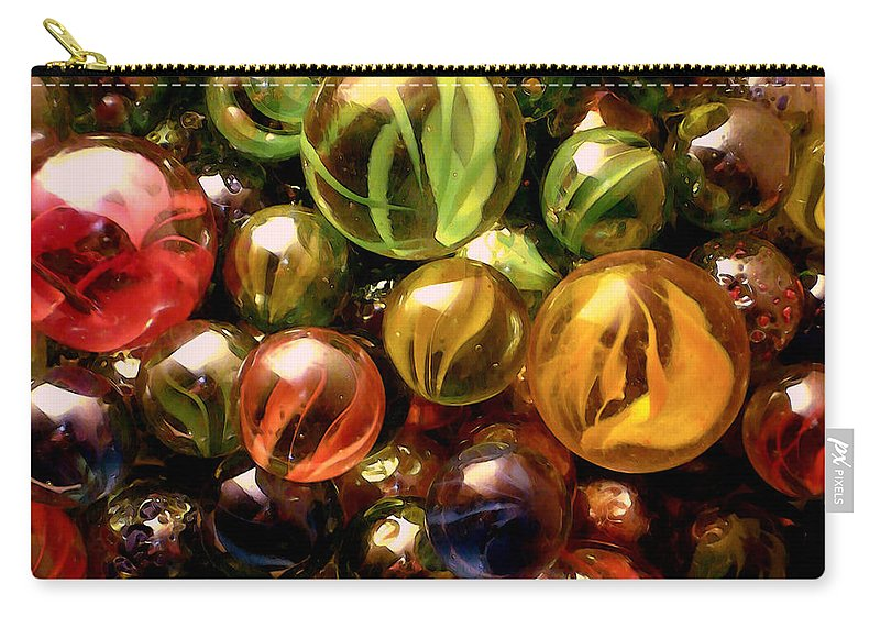 Marbles Abstract Carry-all Pouch featuring the digital art Marble Madness by P Donovan
