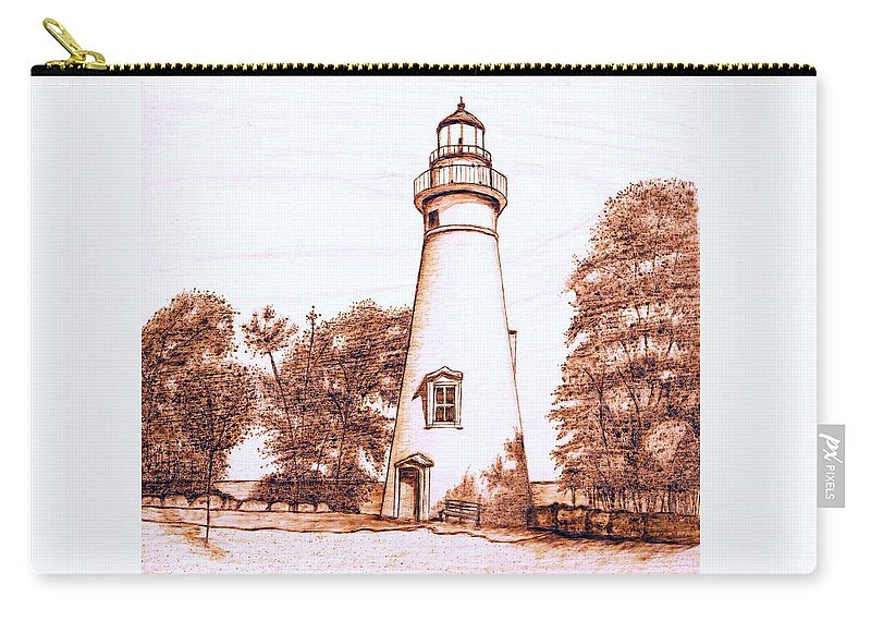 Lighthouse Carry-all Pouch featuring the pyrography Marblehead Lighthouse by Danette Smith