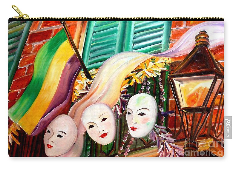New Orleans Carry-all Pouch featuring the painting Mardi Gras Balcony by Diane Millsap