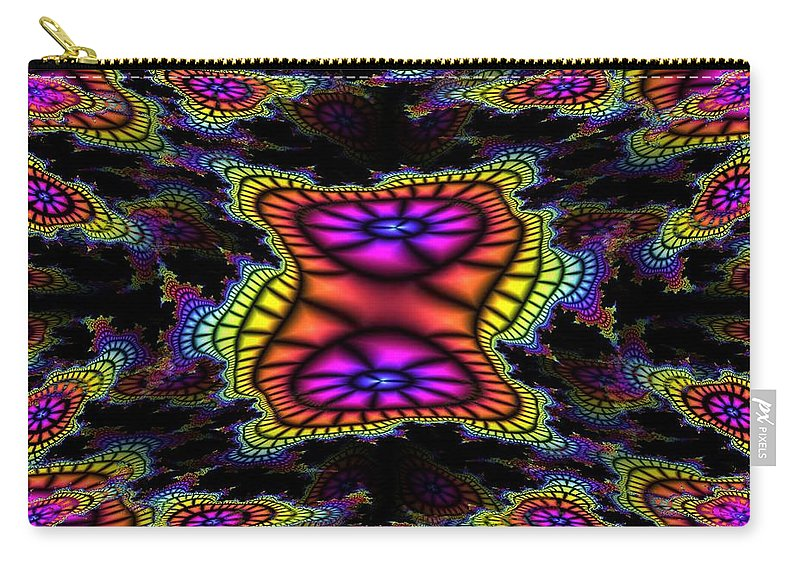 Mardi Gras Carry-all Pouch featuring the photograph Mardi Gras Fractal by Tim Allen