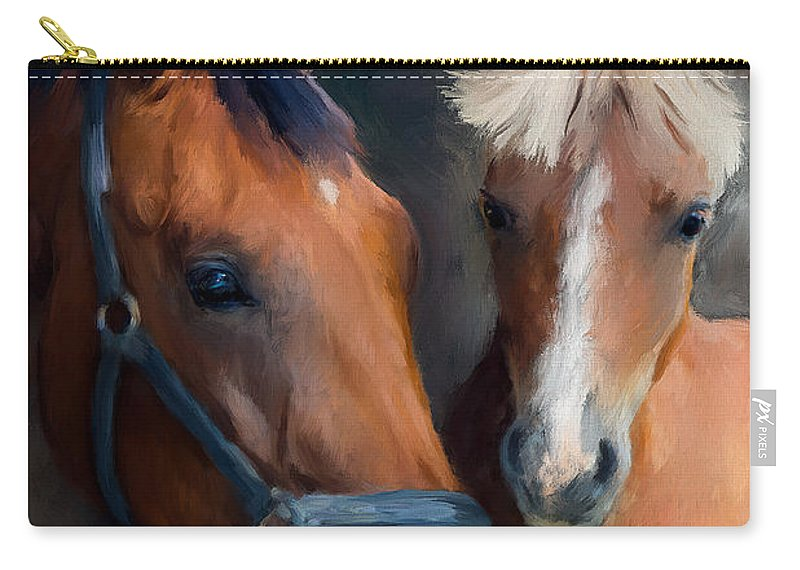 Horses Carry-all Pouch featuring the painting Mare And Foal by Diane Chandler