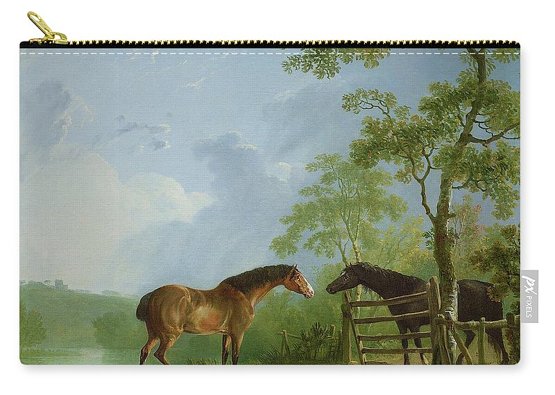 Mare Carry-all Pouch featuring the painting Mare And Stallion In A Landscape by Sawrey Gilpin