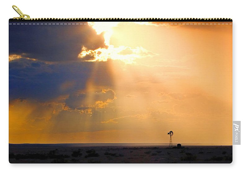 Skip Hunt Carry-all Pouch featuring the photograph Marfa Windmill 1 by Skip Hunt