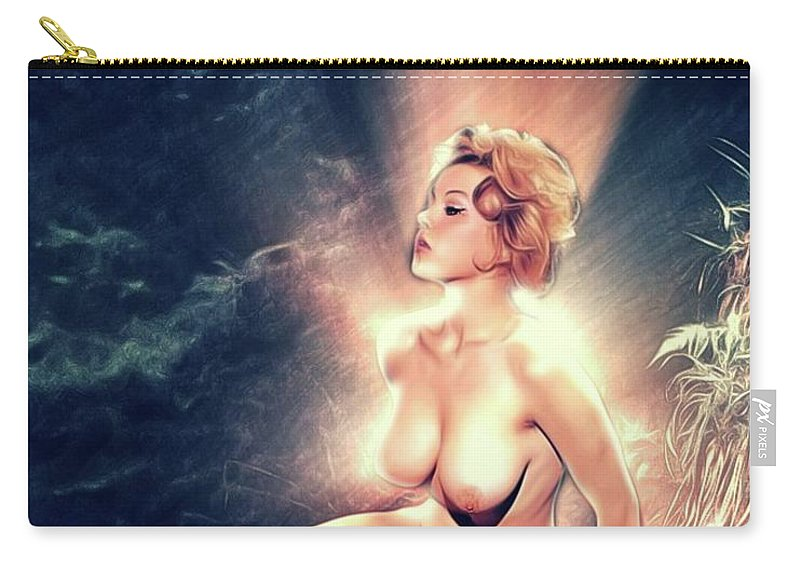 Margaret Carry-all Pouch featuring the digital art Margaret Nolan, Vintage Actress And Model by Mary Bassett