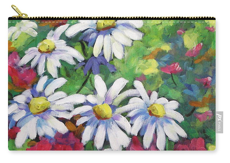 Fleurs Carry-all Pouch featuring the painting Marguerites 001 by Richard T Pranke