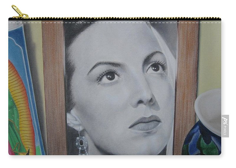 Maria Felix Carry-all Pouch featuring the painting Maria Bonita by Lynet McDonald