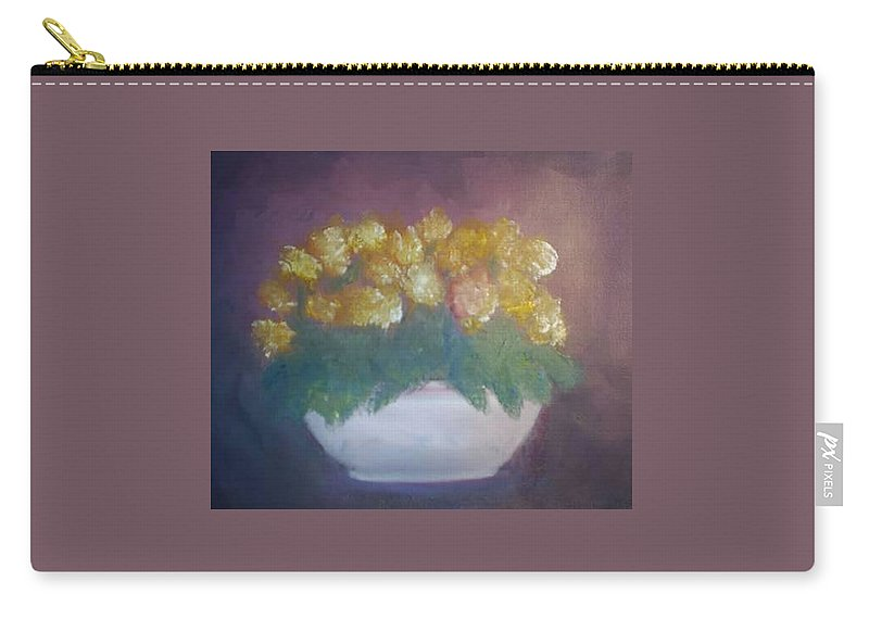 Marigolds Carry-all Pouch featuring the painting Marigolds by Sheila Mashaw