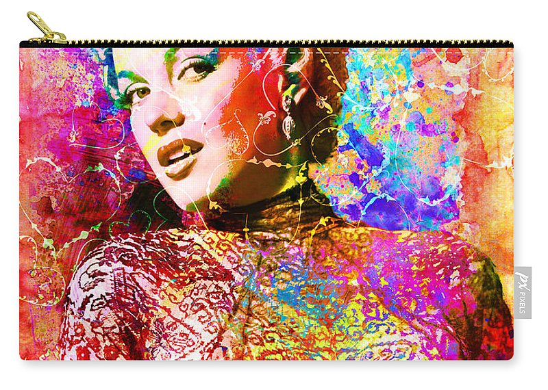 Marilyn Monroe Art Carry-all Pouch featuring the mixed media Marilyn Monroe Art by Ryan Rock Artist