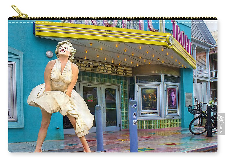 Beautiful Carry-all Pouch featuring the photograph Marilyn Monroe In Front Of Tropic Theatre In Key West by David Smith