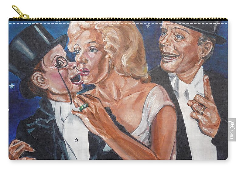 Old Time Radio Carry-all Pouch featuring the painting Marilyn Monroe Marries Charlie Mccarthy by Bryan Bustard