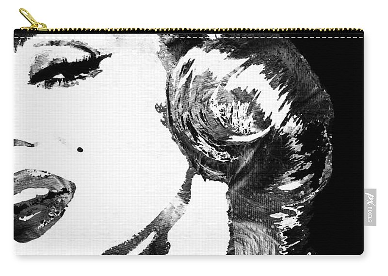 Marilyn Carry-all Pouch featuring the painting Marilyn Monroe Painting - Bombshell Black And White - By Sharon Cummings by Sharon Cummings