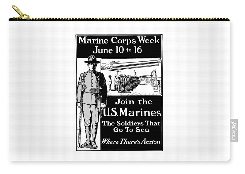 Marine Corps Carry-all Pouch featuring the mixed media Marine Corps Week - Ww1 by War Is Hell Store