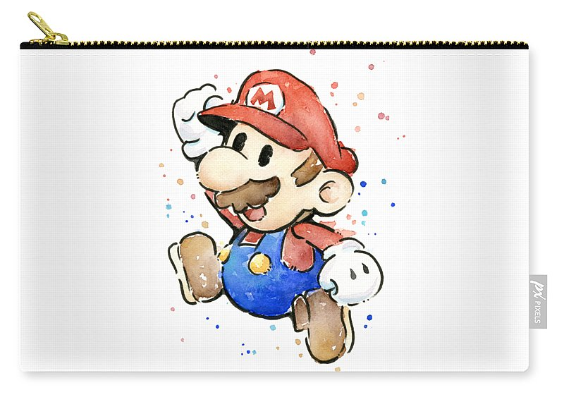 Mario Carry-all Pouch featuring the painting Mario Watercolor Fan Art by Olga Shvartsur
