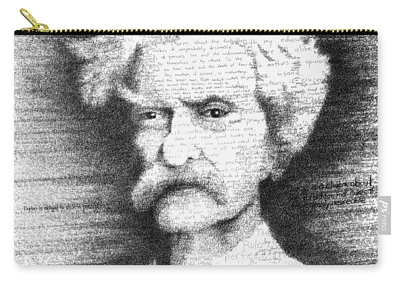 Mark Twain Carry-all Pouch featuring the drawing Mark Twain In His Own Words by Phil Vance