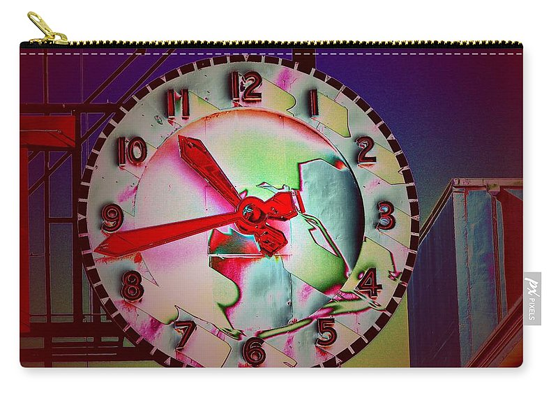 Seattle Carry-all Pouch featuring the digital art Market Clock 3 by Tim Allen