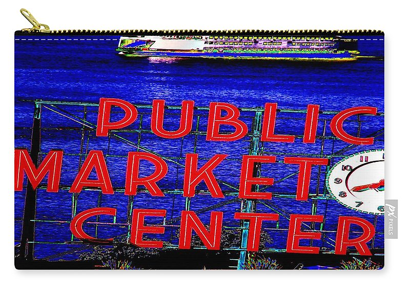 Seattle Carry-all Pouch featuring the photograph Market Clock And Ferry by Tim Allen