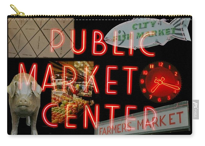 Seattle Carry-all Pouch featuring the photograph Market Collage by Tim Allen