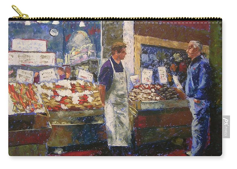 Pike Place Market Carry-all Pouch featuring the painting Market Conversation by Mary McInnis