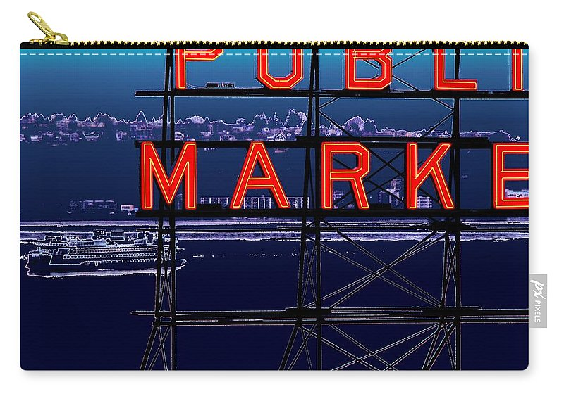 Seattle Carry-all Pouch featuring the digital art Market Ferry by Tim Allen