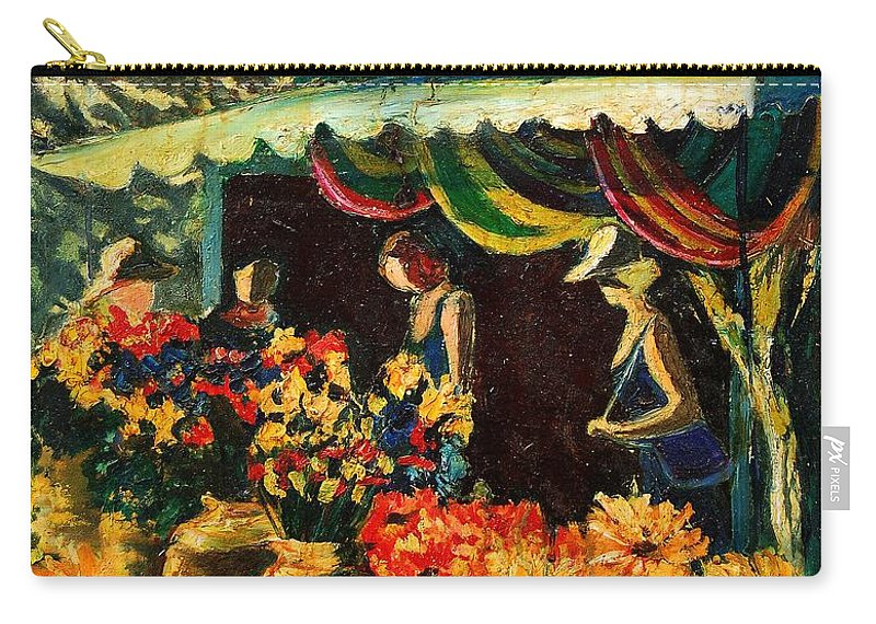 Provence Carry-all Pouch featuring the painting Market In Provence by Pol Ledent