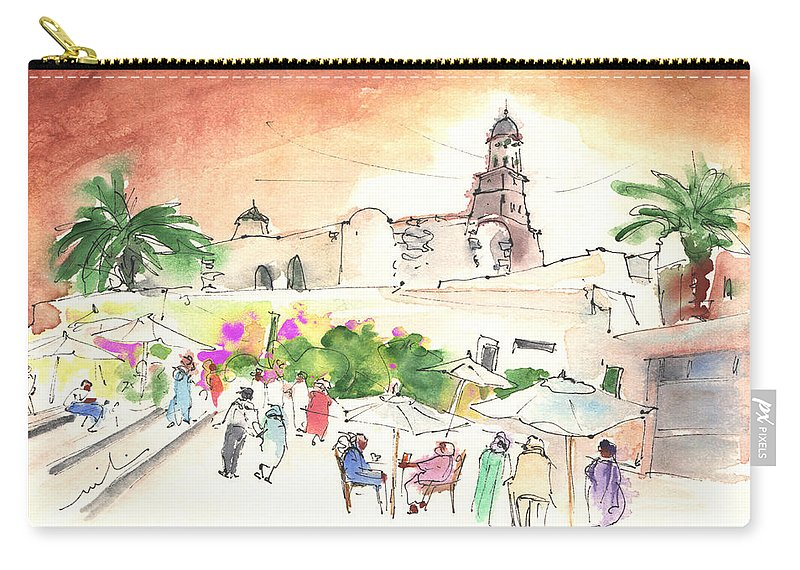 Travel Carry-all Pouch featuring the painting Market In Teguise In Lanzarote 02 by Miki De Goodaboom