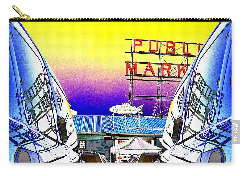 Seattle Carry-all Pouch featuring the photograph Market Reflect by Tim Allen