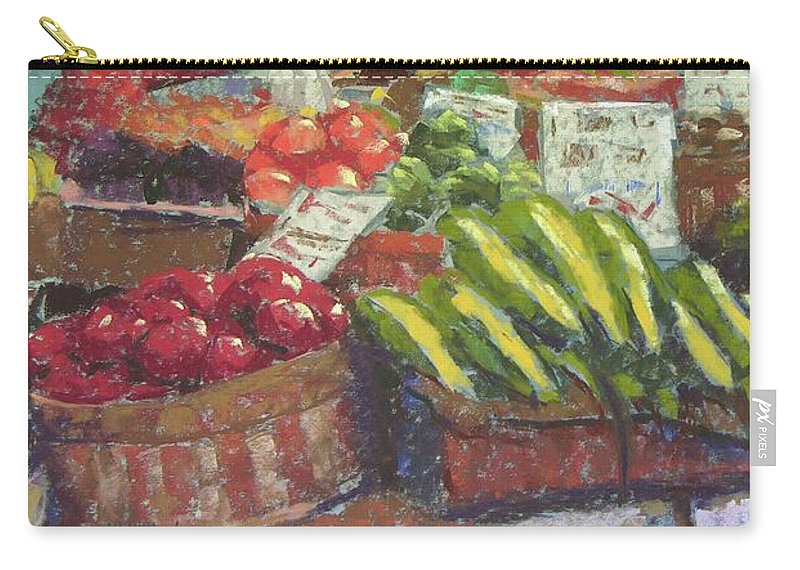 Pike Place Market Carry-all Pouch featuring the painting Market Stacker by Mary McInnis