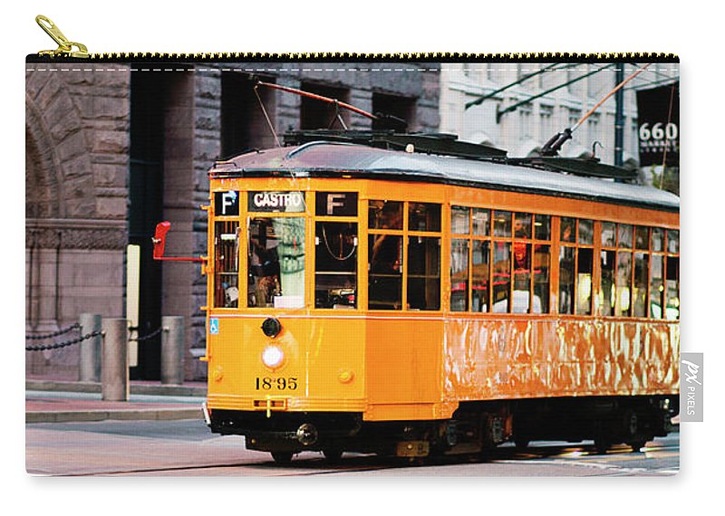 I Love Sf Carry-all Pouch featuring the photograph Market Streetcar - San Francisco by Melanie Alexandra Price