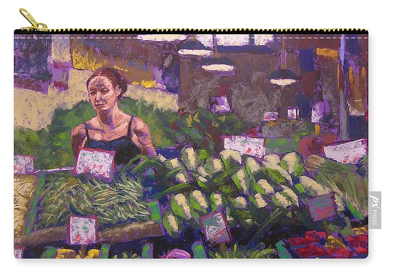 Pike Place Market Carry-all Pouch featuring the painting Market Veggie Vendor by Mary McInnis