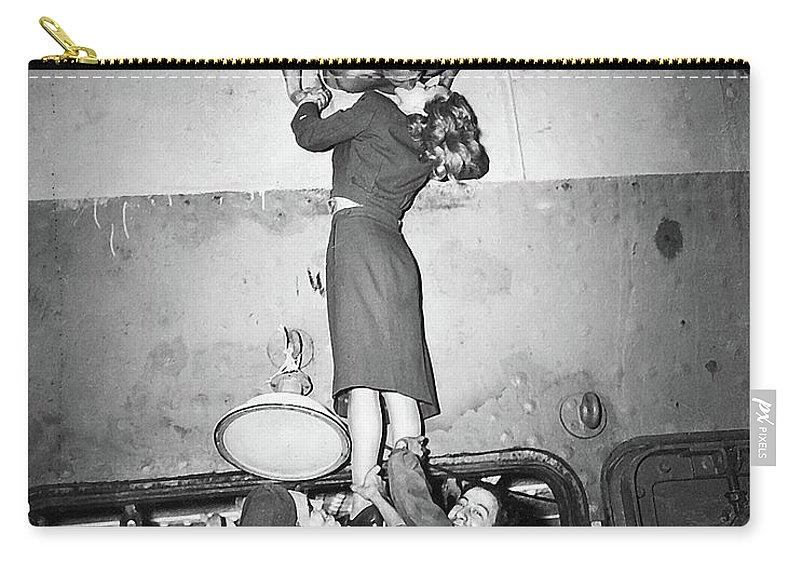 Marlene Dietrich Kissing Soldier Returning From Ww2 1945 Carry-all Pouch featuring the photograph Marlene Dietrich Kissing Soldier Returning From Ww2 1945 by David Lee Guss