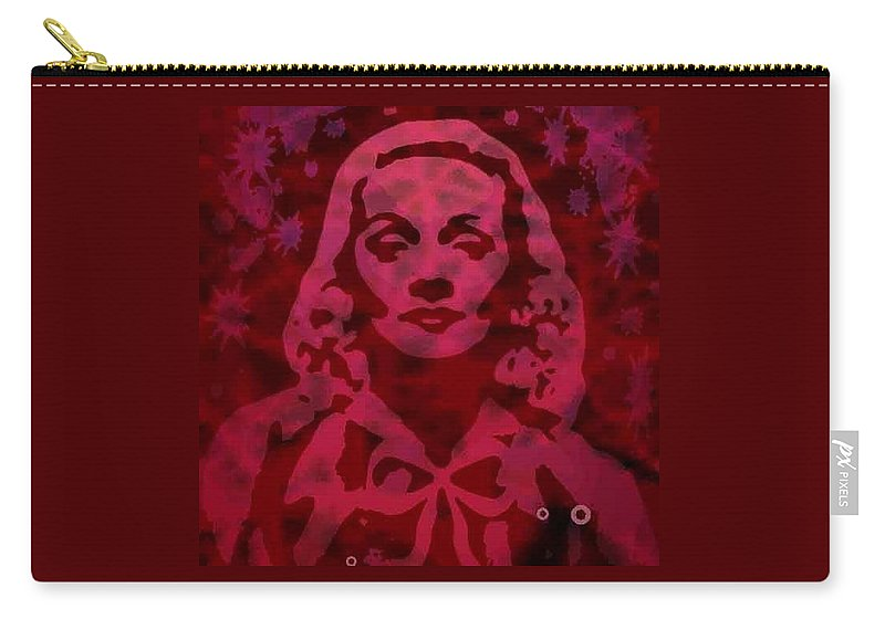 Digital Painting Carry-all Pouch featuring the digital art Marlene In Red by Ansgard Thomson