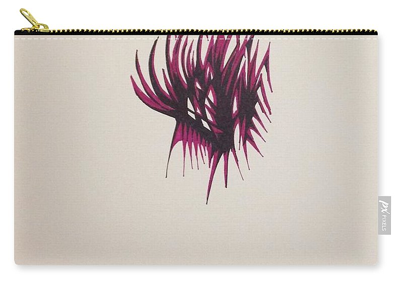 Abstract Carry-all Pouch featuring the drawing Maroon Feathers by D Wood