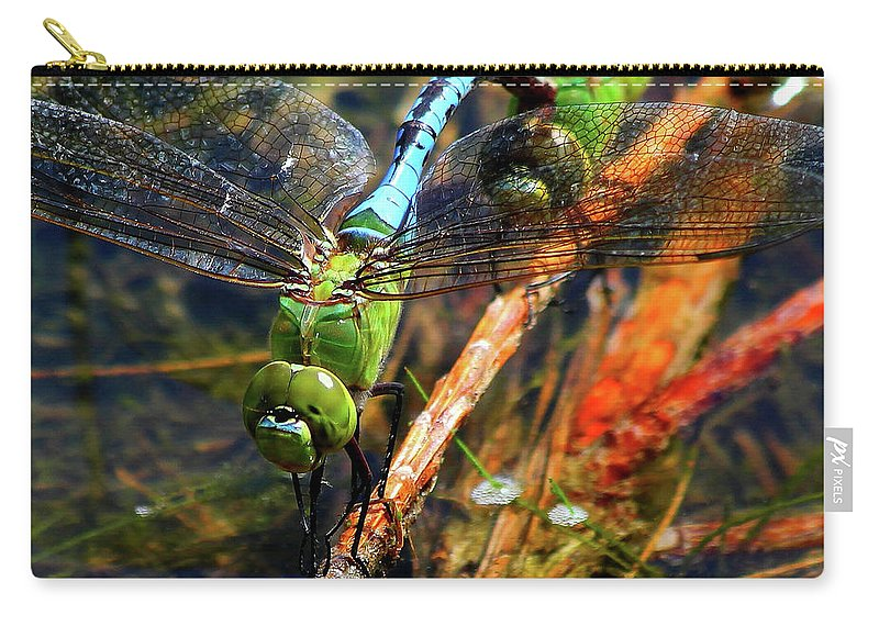 Reid Callaway Dradonfly Carry-all Pouch featuring the photograph Married With Children Dragonflies Mating by Reid Callaway