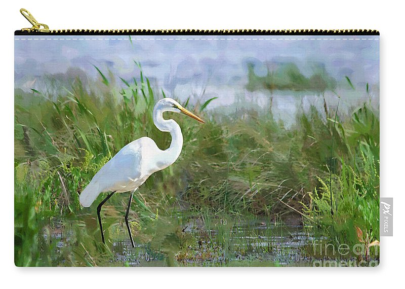 Great Egret Carry-all Pouch featuring the photograph Marsh Egret by Betty LaRue