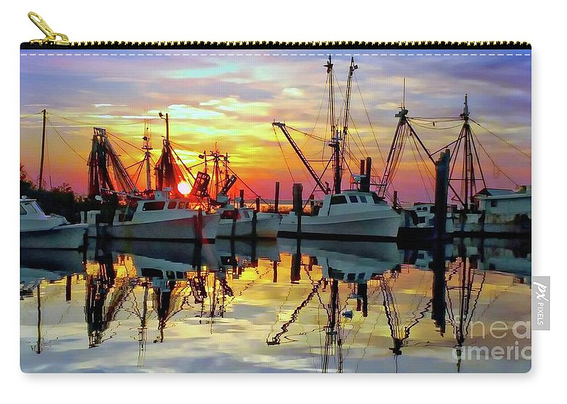 Sunset Carry-all Pouch featuring the photograph Marshallberg Harbor Sunset by Benanne Stiens