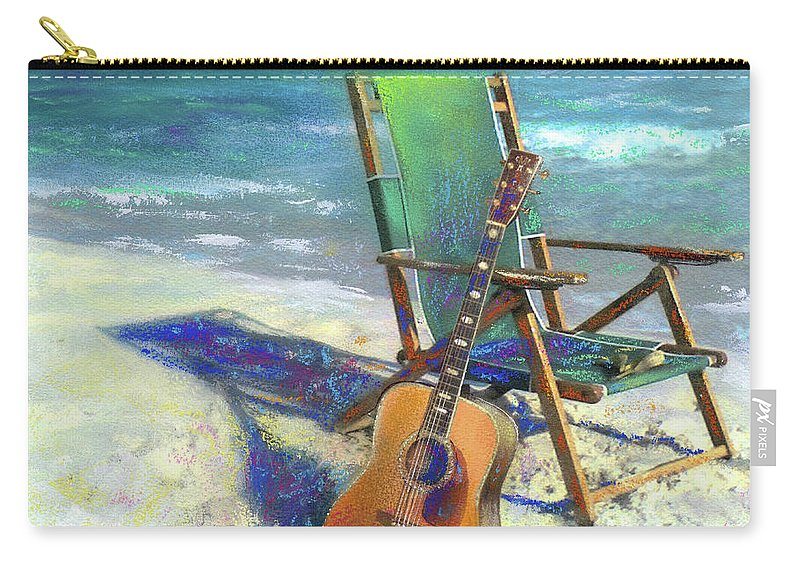 Guitar Carry-all Pouch featuring the painting Martin Goes to the Beach by Andrew King